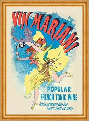 Kunstdruck Vin Mariani French Tonic Wine - Botella de estilo modernista para carteles, A3 436 enmarcada