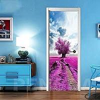 ドアステッカー ベッドルーム改修のための3DドアステッカーDIYホームデコレーションツリー花風景を印刷アートピクチャーデカール自己接着は、防水壁画 (Size : 95x215cm)-95x215cm