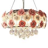 Ceiling Light Romantic Pink Rose Flower Chandelier Crystal Pendant Lamp E12/E14 for Bedroom, Dining Room or Living Room Adjustable Ceiling Lamp/Pendant Lamp