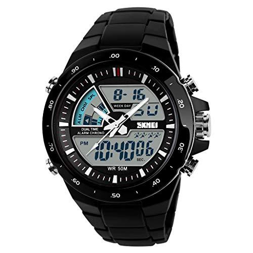 Toamen Reloj de Cuero para Hombres Luminoso Impermeable Digital Multifunción Moda al Aire Libre Deportes Militares