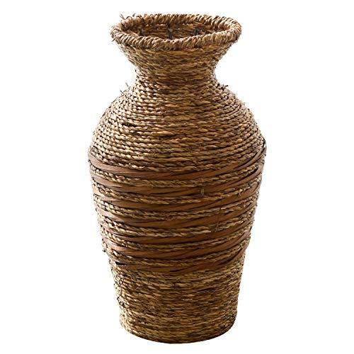 WM Homebase Blumenvase Tischvase Vase Deko Blumentopf Blumenständer aus Wasserhyazinthen Naturfarbe 12x10,5x30CM