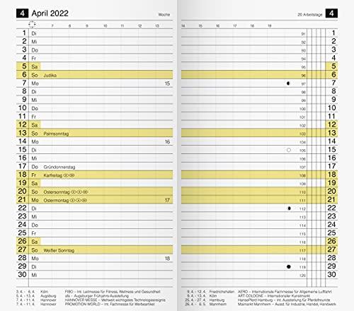 rido/idé 7046830002 Taschenkalender/Plankalender M-Planer Ersatzkalendarium, 2 Seiten = 1 Monat, 87 x 153 mm, Karton-Umschlag, Kalendarium 2022
