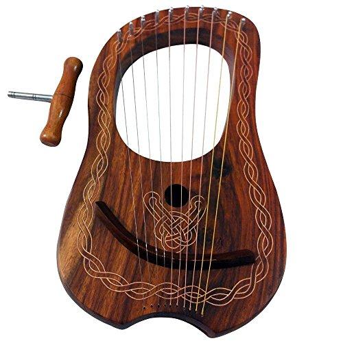 Lyre Harp 10 Metal String Instruments Shesham Wood/Lyra Harp/Lyre Harfe/Case