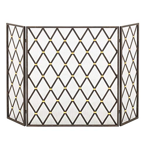 Why Choose Fireplace Screens YXX- 3-Panel Wrought Iron, Indoor/Outdoor Metal Decor Mesh Spark Guard,...