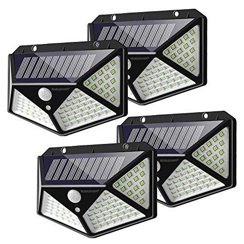 Solarlampen für Außen mit Bewegungsmelder, (4 Stück) 100LED Solar Wandleuchte Aussen, 270 ° Weitwinkel Solarleuchte mit 3 Modi Solar Beleuchtung Wasserdichte Solarlicht für Garten Patio