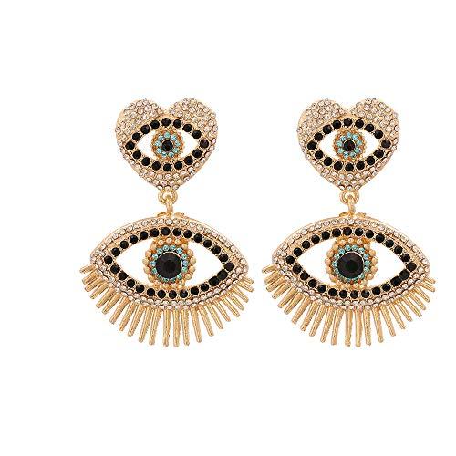 Neue übertriebene Vintage Strass Kristall Augentropfen Ohrringe für Frauen Boho Schmuck Mode Quaste Ohrringe