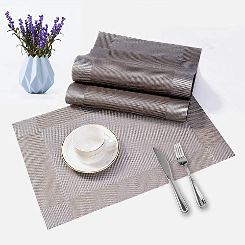 3 Person Table Set, Washable PVC Place Mats with Table Runner and Coasters for Home/Restaurant, Dirt-Repellent, Non-Slip, Wipe-Clean, 45 x 30 cm, Silver Grey