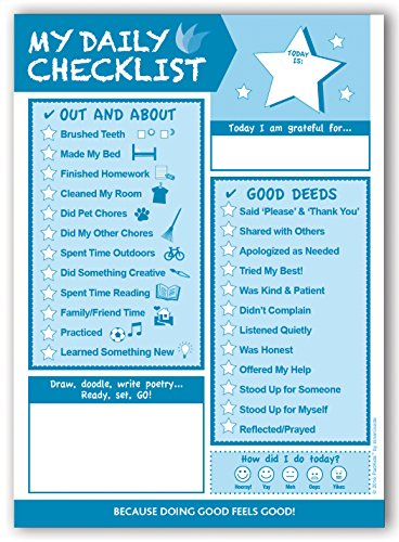 InnerGuide Planners, Daily Checklist for KIDS, 90-Page, Daily Tear-Off Planning Note Pad (6.5 x 9) Do Good, Feel Good!