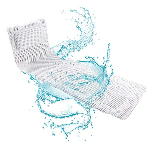 Full Body Bath Pillow Mat for Tub, NAVOROGE Bathtub Mat with Pillow for Neck and Back Support,Non Slip Spa Bath Cushion Pad with 3D Air Mesh Layers Comfort Head Rest -49x14in