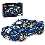 Myste 1428 bloques de fijación Supercar 1:14 para coche de carreras para adultos, compatible con Lego Technic, color azul y blanco