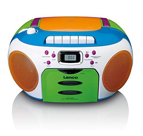 Lenco SCD-971 -Kinderradio - Kassettenradio mit CD - CD-Radio - Kassettenplayer - Stereo Lautsprecher - Kopfhöreranschluss - Track-Speicher - bunt