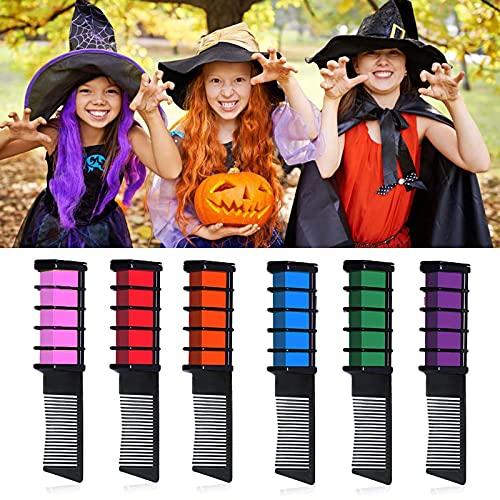 EBANKU 6 Colores Peine de Tiza Kit, Lavables coloración Temporal Tinte del Cabello para Niños Regalos Navidad Fiestas Cosplay DIY