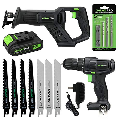 GALAX PRO 20 V Max Cordless Combo Kit, 20 N.m Impact Drill Driver, Reciprocating Saw 0-3000 SPM, 1.3 Ah Li-ion Battery Pack with Charger and 7 Pieces blades