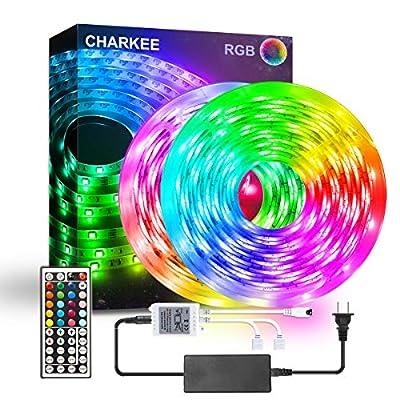 LED Strip Lights, CHARKEE LED Lights, 32.8ft RGB 5050 300 LEDs Color Changing Light with 44 Keys IR Remote and 12V Power Supply LED Light for Room, Bedroom, Cabinet, DIY Decoration