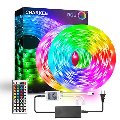 LED Strip Lights, CHARKEE LED Lights, 32.8ft RGB 5050 Color Changing Light with 44 Keys IR Remote and 12V Power Supply LED Light for Room, Bedroom, Cabinet, DIY Decoration