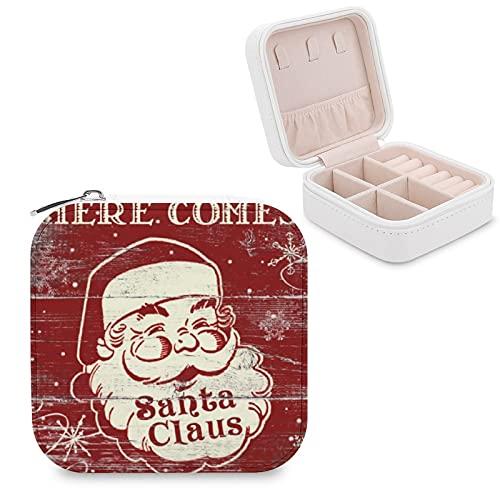 Caja de joyería para mujeres y niñas, vintage retro aquí viene Santa Claus pequeño viaje PU cuero joyería caja de almacenamiento organizador vitrina para collar, pendientes, anillos y pulseras