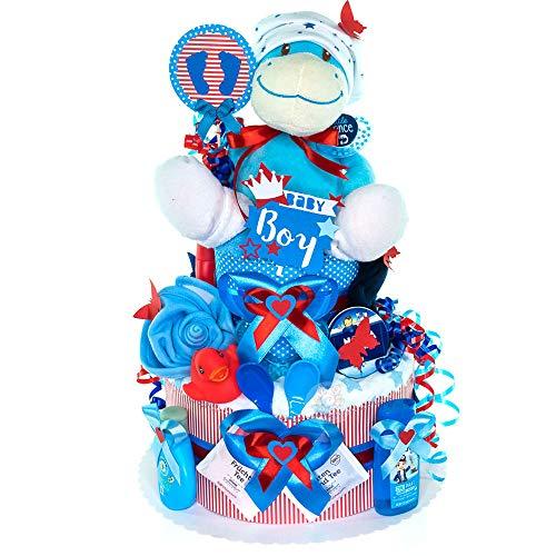 MomsStory - Windeltorte Junge   Baby-Geschenk zur Geburt Taufe Babyshower   2 Stöckig (Rot-Blau) mit Plüschtier Lätzchen Schnuller & mehr