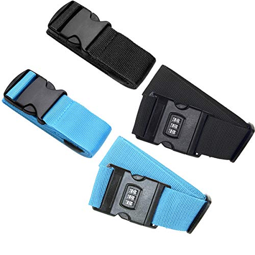 OSUTER Correas de Equipaje,4PCS Cinturon de Maleta Ajustables Correa de Seguridad Maletas para Viaje(Azul y Negro)