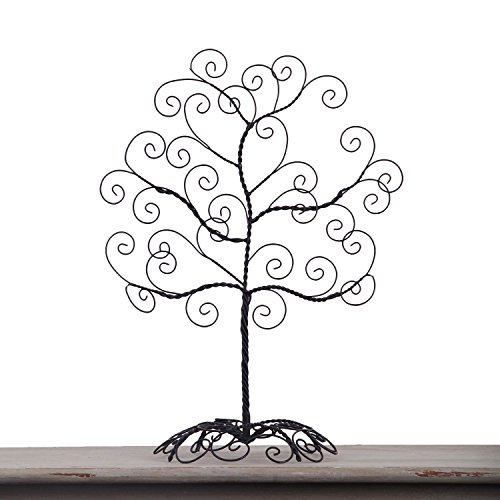 Adeco HD0017 Twisted Iron Tree Picture/Photo/Ornament/Card Holder, Table Desk Top, Self Standing Scroll Design, Black with Antique Finish