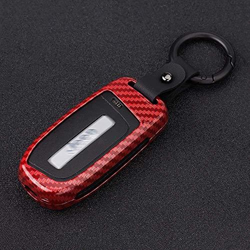 Funda de fibra de carbono con textura para llavero, funda, carcasa, piel, protector de chaqueta, apto para Jeep Grand Cherokee Renegade, llave inteligente 2 3 4 5 botones, rojo,rojo carbón