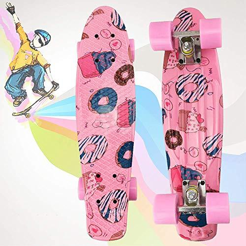 Qinmo Estándar monopatines, Tablas de Skate completos, 22 Pulgadas PP Mini monopatín del Crucero for niños Niños Juventudes Principiantes, Monopatín de la Vendimia for la Escuela y Viajes