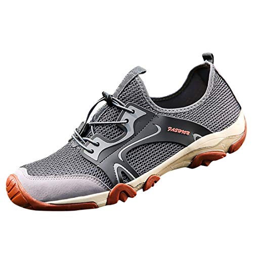 Men's Fashion Retro Outdoor Sneakers Breathable Mesh Running Sport Shoes Boy's Wild Comfortable Casual Hiking Shoes Blue (Gray, 10-Men-US)
