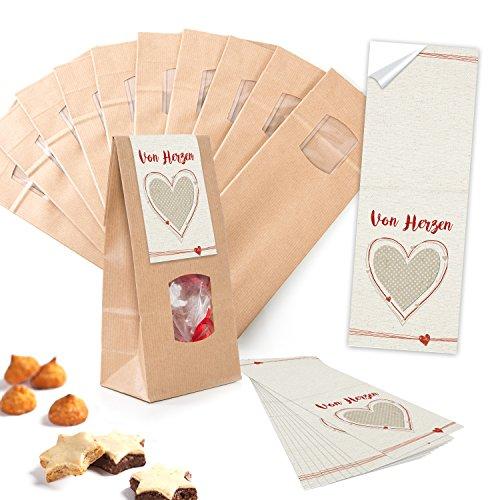 10 stuks kleine bruine blok-bodemzakken met venster + folieinzet 10,5 x 6,5 x 29 cm + 10 rood-witte stickers van harten - papieren zakken voor gebak, bonbonines - geschikt voor levensmiddelen