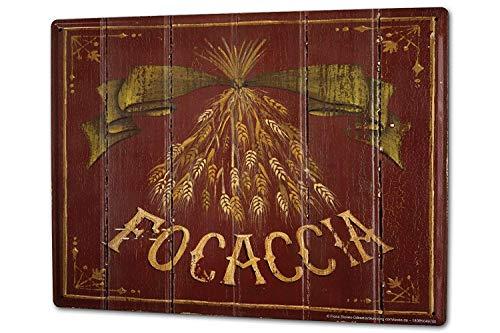 SIGNCHAT Nostalgische Leuke Tarwe focaccia brood metalen blik bord 8x12 inch
