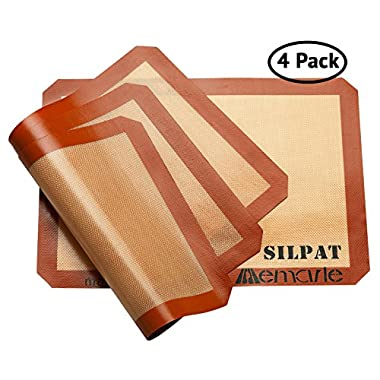 Silpat Baking Mat Set for Healthy Baking (4 Pack) | 11-5/8-Inch x 16-1/2-Inch | Reusable Non-Stick Silicone Baking Mats | Use as Cookie Sheet Mat, for Pastries, Cooking and More