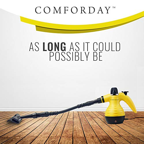 Comforday Handheld Pressurized Steam Cleaner -Multi-Purpose Steamer with 9-Piece Accessories for Multi-Surface Stain Removal, Floor Steamer, Window, Counters, Carpets, Curtains, Car Seats, & Much More