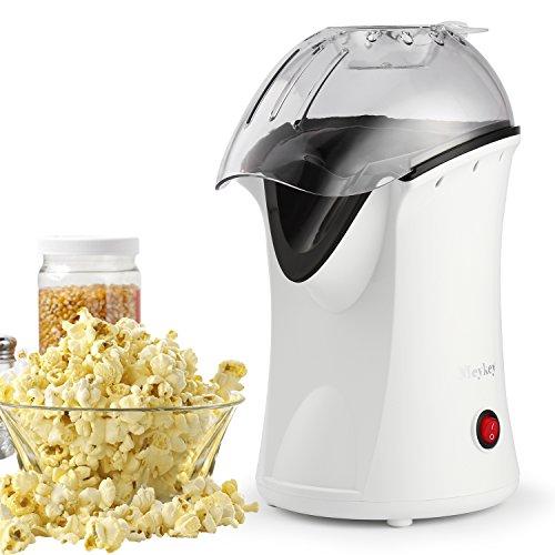 MEYKEY Popcorn Maschine, 1200 W Popcorn Maker für Zuhause, Schnellste 2 Minuten, 98% Poping-Rate, kleiner Popcorn Hersteller mit Messbecher, gesunder Snack ohne Fett Fettfrei Ölfrei (Schwarz) (white)