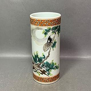 伊月に蝉の絵 筆筒 明121 民国 文革磁器 中国古董 中国古美術 唐物 中国 古玩