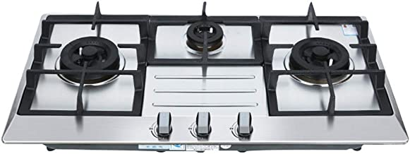 Stainless Steel Three-Hole Gas Stove, NG/LPG Convertible Stainless Steel Gas Stove Top with Thermocouple Protection,Househ...