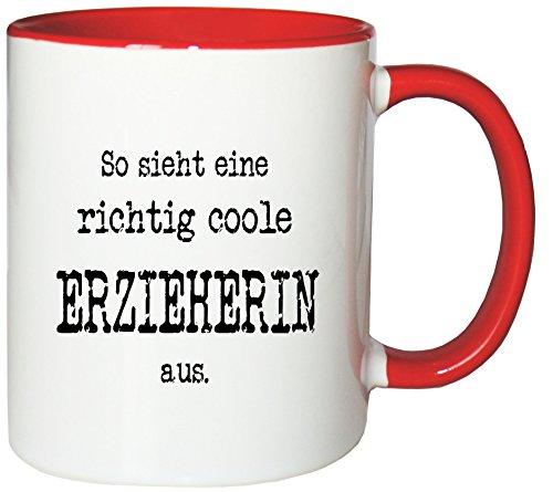 Mister Merchandise Kaffeetasse So Sieht eine richtig Coole Erzieherin aus. Teetasse Becher, Farbe: Weiß-Rot