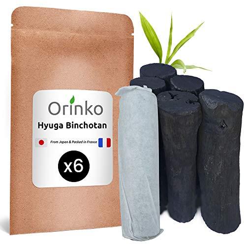 orinko Binchotan Japonais de Hyuga x6 (150G, 25G x 6) | Authentique Charbon Actif Binchotan Traditionnel du Japon (Miyazaki) pour Purification d'eau en Carafe