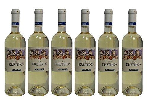 6x Boutari Kretikos Weisswein je 0,75L trocken griechischer Tafelwein Weiß Wein im Spar Set + 2x Probiersachet Olivenöl
