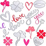 9 Pieces Valentine's Day Metal Die Cuts, Embossing Stencil Templates Includes Love Heart Cut Dies Rose Die Cuts I Love You Word Cutting Dies for Valentine's Day Scrapbooking Card Making