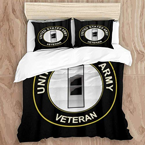 SUPERQIAO Duvet Cover Set,Sakura US Army Chief Warrant Officer 2 Veteran,Decorative 3 Piece Bedding Set with 2 Pillow Shams