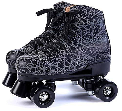 Xbshmw Leder Rollschuhe, Kinder Rollschuh Set, Outdoor Erwachsene Männer und Frauen Schwarz Zweireihige Rollschuhe mit 4 Rädern,Black Wheel,44