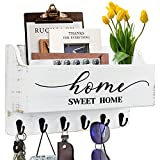 Mail Holder for Wall with 6 Key Hooks Mail Organizer Wall Mount with Key Holder Key Hooks Hanger for Wall with Mail Holder Mail and Key Holder for Wall Mount-Letters Holder Dog Leash Holder