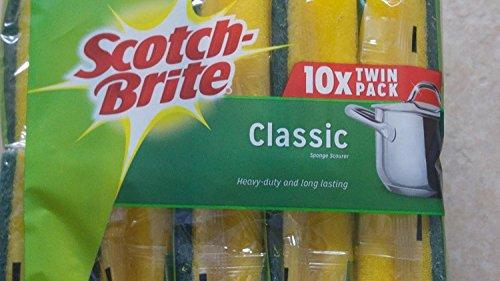 Scotch-Brite Classic Schwamm, Topfreiniger, strapazierfähig und langlebig, 10 Doppelpacks, insgesamt 20 Stück
