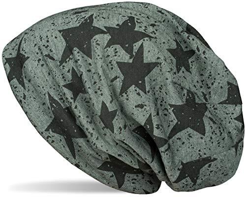 styleBREAKER Unisex Stoff Beanie Mütze mit Sterne Splat Style Print, Leichte Longbeanie mit Farbspitzer Muster 04024185, Farbe:Oliv meliert