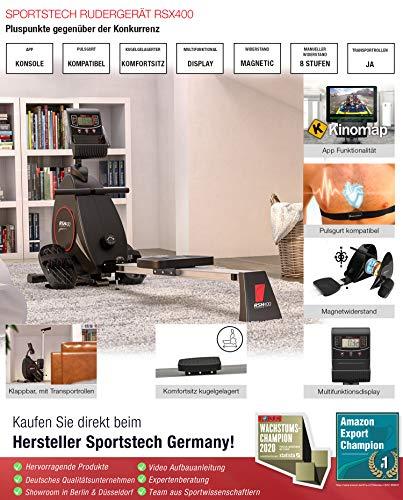 Sportstech RSX400 Rudergerät - Deutsche Qualitätsmarke -Video Events & Multiplayer APP, Pulsgurt inkl. –Rudermaschine für Ihr Zuhause, klappbar mit 8fach Magnetwiderstand und kugelgelagertem Sitz