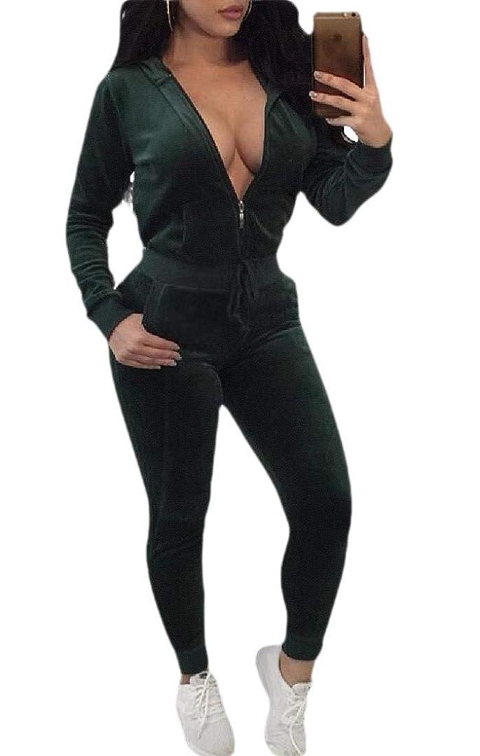 元の野望ユーモアWomen's Velvet Drawstring Hoodie Jacket+Long Bodycon Pants Sweatsuits 2 Pieces Set