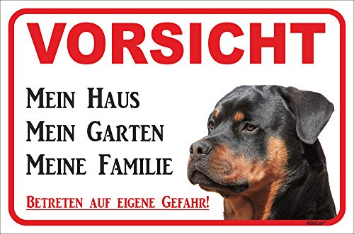 AdriLeo Schild - Vorsicht Rottweiler - Mein Haus - (20x30cm) / Achtung Hund Wachhund