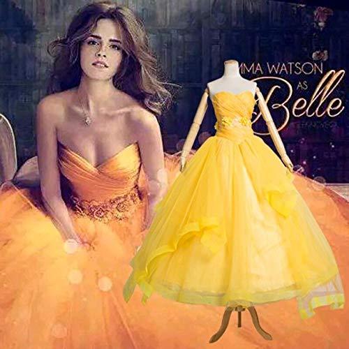 TCYLZ Deluxed 1: 1 Película La Bella y la Bestia Príncipe Belle Vestido amarillo sin tirantes Emma Watson Disfraz Princesa Bella Escenario Disfraz XXL Amarillo