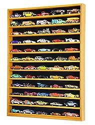 wood wall shelf unit to hold miniature cars