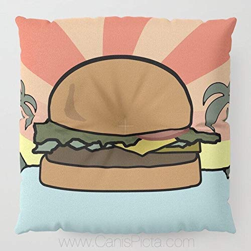 Toll2452 Burger Paradise Bodenkissen quadratisch TV Show Deko TV Fan Cover Pop Kultur Humor Funny Art Kissen Hamburger Käse Fandom weich