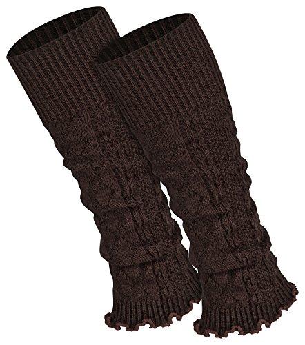 Piarini 1 Paar Bein Stulpen Damen - warme Beinstulpen Strick - dunkelbraun