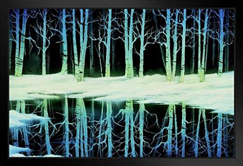 Bob Ross Snow Birch Art Print Painting Black Wood Framed Art Poster 14x20
